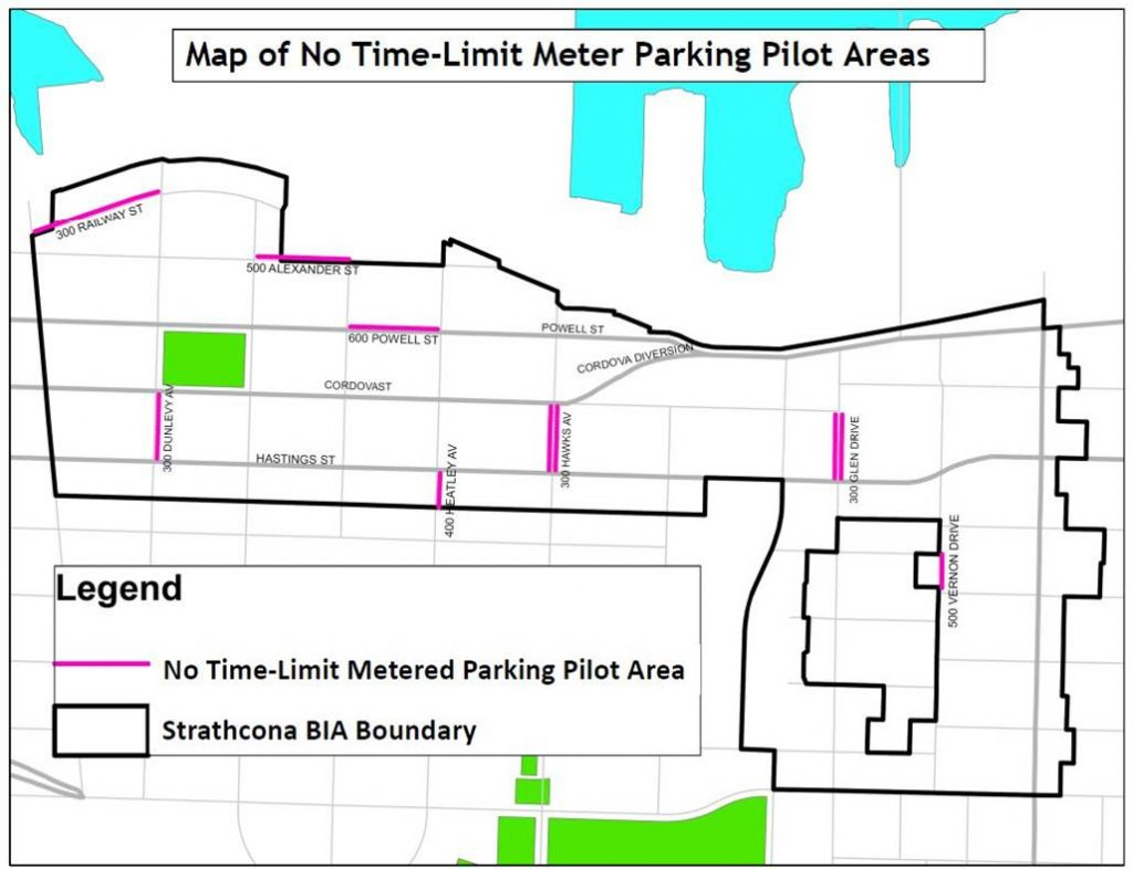 MAP of no time-limit metered parking