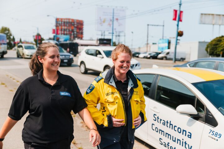 Members of the Strathcona Community Safety Team on foot patrol in the district.