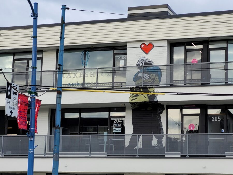 Over and Out Mural by iHeart is our Love Your City Contest spot in Strathcona to find, share, and be entered to win prizes.