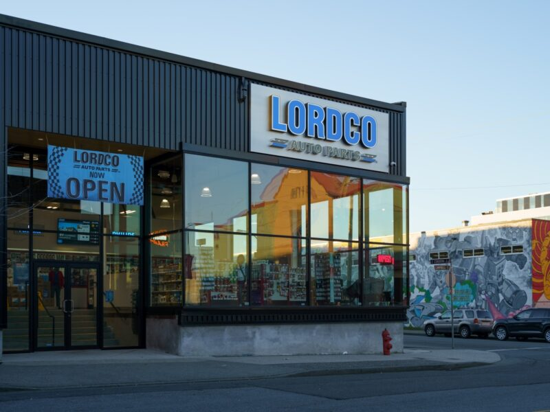 Exterior shot of the entrance to Lordco Auto Parts in Strathcona.