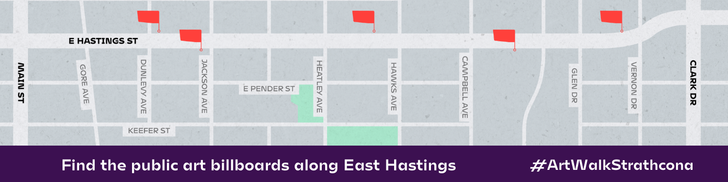 A map of East Hastings showing where the public billboard images are located.