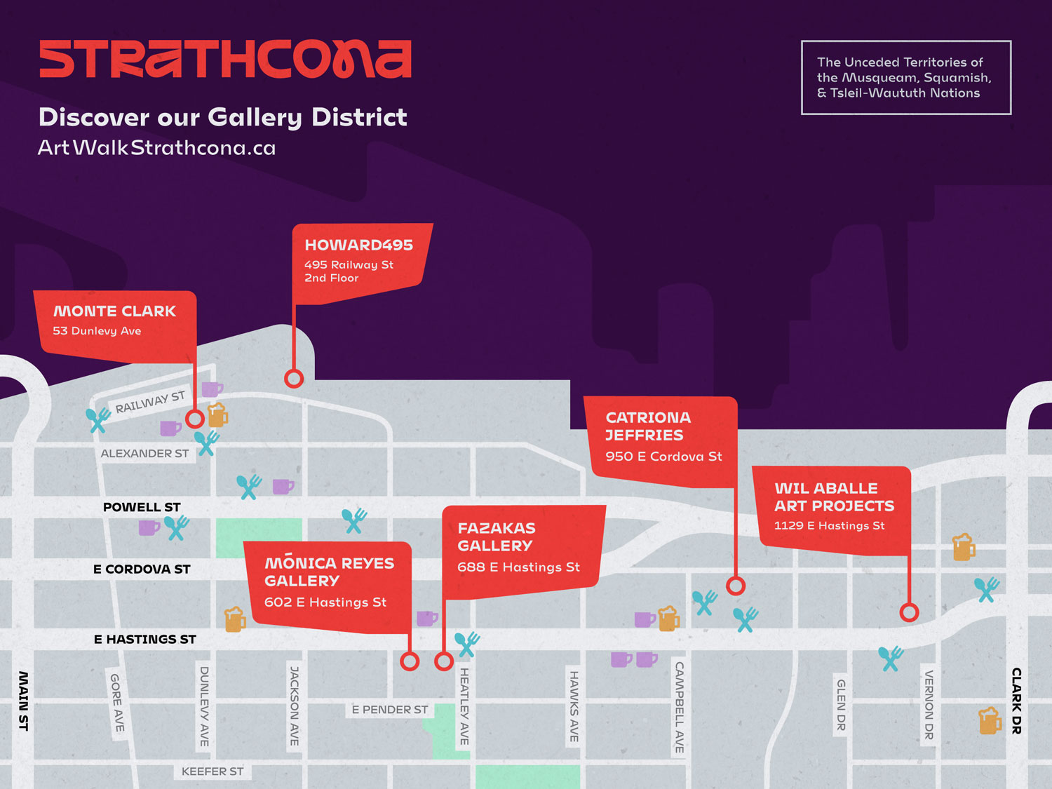 A Map of Strathcona showcasing the locations of our contemporary art galleries.