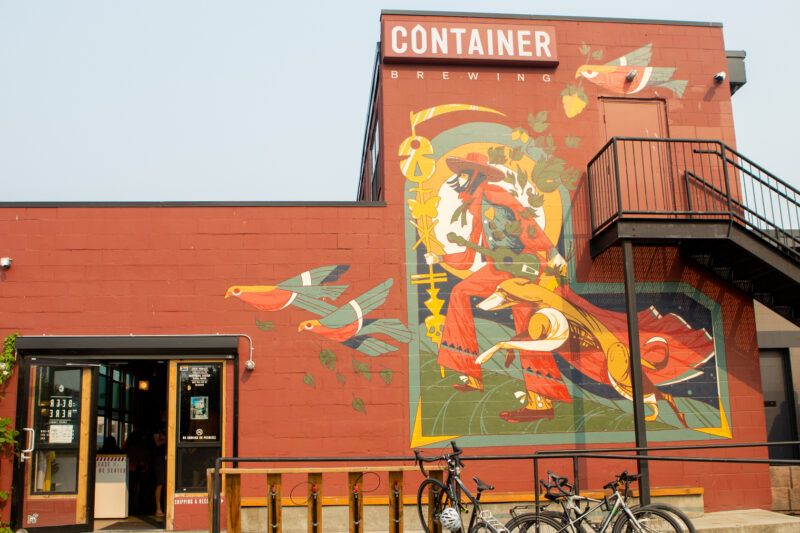 Year In Review: COVID-19 Recovery and Placemaking. View of new mural at Container Brewing.